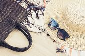Vintage Summer Wicker Straw Beach Bag, Sun Glasses, Hat Cover-up Beachwear Wrap On The Sand, Tropica poster