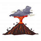 Volcano Eruption With Magma, Smoke, Ashes Isolated On White Background. Volcanic Activity Hot Lava E poster