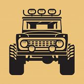 Off-road Car Isolated. Expedition Suv Silhouette, Vector Illustration poster