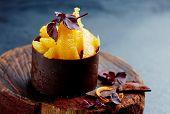 orange and chocolate dessert poster
