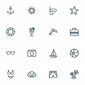 Season Icons Line Style Set With Shorts, Anchor, Drink And Other Beachwear Elements. Isolated  Illus poster