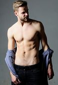 Guy Sexy Muscular Body Take Off Clothes Grey Background. Full Desire. Seductive Macho Feeling Sexy.  poster