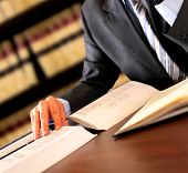 stock photo of lawyer  - Businessman working in the library - JPG