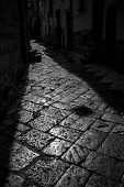 Beautiful Sun-lit Stone Narrow Street In Altamura, Apulia, Italy. Black And White High Contrast Phot poster
