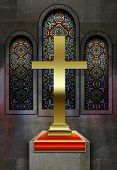 stock photo of plinth  - Christian church stained glass windows with metal cross on plinth - JPG