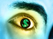 stock photo of greed  - Dollar symbol reflected in a man - JPG