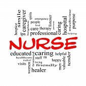 stock photo of rn  - Nurse Word Cloud Concept in red and black letters with great terms such as rn care brighten caring helpful and more - JPG