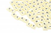stock photo of scrabble  - Scrabble yellow piece block on white background - JPG