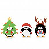 foto of rudolph  - Collection of Cute little penguins wearing christmas costumes - JPG
