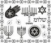 image of menorah  - Set of jewish religious holiday vector symbols - JPG