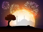 picture of eid festival celebration  - Celebration of Muslim community festival Eid Mubarak background with fireworks and view of mosque - JPG