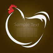 image of rooster  - Vector image of an hen on brown background - JPG
