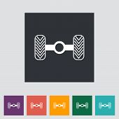 stock photo of chassis  - Chassis car single flat icon - JPG
