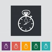 stock photo of stopwatch  - Stopwatch flat icon - JPG