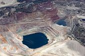 picture of open-pit mine  - Aerial view of an open pit mining in Arizona - JPG
