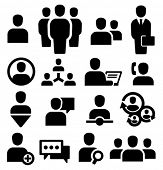 stock photo of communication people  - Vector black people icons set - JPG