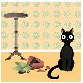 stock photo of misbehaving  - Illustration of black naughty cat who broke flower pot in the room - JPG