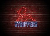 foto of pornography  - Brigt neon sign of a sexy naked female stripper on a brick wall at night - JPG
