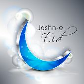 Jashn E Eid (Celebration of festival Eid) text with blue moon on shiny grey  background.