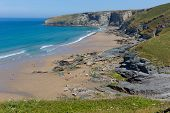 picture of heatwave  - Trebarwith Strand beach Cornwall near Tintagel England UK - JPG