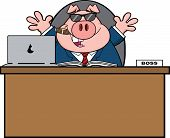 Businessman Pig Cartoon With Sunglasses,Cigar Behind Desk