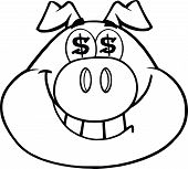 Black And White Smiling Rich Pig Head With Dollar Eyes