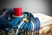 image of funeral home  - a candle in the candlestick a crumpled tablecloth - JPG