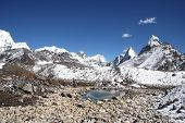 stock photo of chola  - this picture was taken at a small run off lake near gokyo - JPG