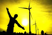 picture of wind-vane  - The wind turbine generator the renewable energy