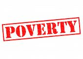 pic of deprivation  - POVERTY red Rubber Stamp over a white background - JPG