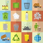 stock photo of trash truck  - Garbage trash environmental cleaning hygienic symbols website icons set isolated vector illustration - JPG