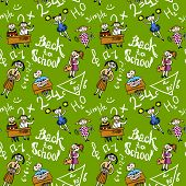 picture of retort  - Kids cheerleading learning with school accessories background seamless doodle sketch pattern vector illustration - JPG