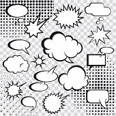 image of strip  - Comic speech bubbles and comic strip on monochrome halftone background vector illustration - JPG