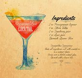 stock photo of cosmopolitan  - Cosmopolitan cocktails drawn watercolor blots and stains with a spray - JPG