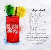 picture of cocktail menu  - Bloody mary cocktails drawn watercolor blots and stains with a spray - JPG