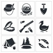 foto of duck-hunting  - Color hunting and fishing icon set on a white background - JPG