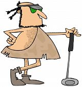 image of caveman  - This illustration depicts a caveman leaning on his golf club and wearing a visor - JPG