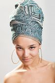 image of turban  - sexy girl with bare shoulders in a turban - JPG
