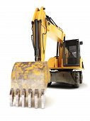 image of hydraulics  - Industrial hydraulic excavator on a white background - JPG