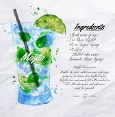 stock photo of cocktail menu  - Mojito cocktails drawn watercolor blots and stains with a spray - JPG