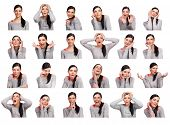 stock photo of anger  - Young woman showing several expressions isolated on white background - JPG