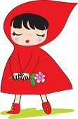 picture of little red riding hood  - Little Red Riding Hood Holding a pink flower - JPG