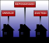 stock photo of eviction  - Illustration of three black houses in silhouette under signs stating unsold - JPG