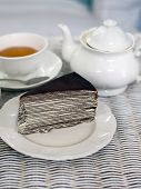 image of darjeeling  - Crape cake with darjeeling tea in vintage restaurant - JPG