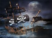 picture of pirate ship  - A Pirate Ghost Ship stranded on the rocks at sea with a big full moon - JPG