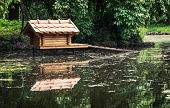picture of nesting box  - Box for waterfowl nesting is mirrored in the water - JPG