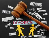 stock photo of breakup  - Paper couple with gavel and divorce related messages - JPG