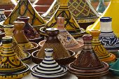 image of tagine  - Moroccan ceramic tagines on the market - JPG