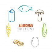 picture of milk  - Vector icons set for allergens  - JPG