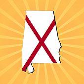 stock photo of alabama  - Alabama map flag on sunburst illustration - JPG